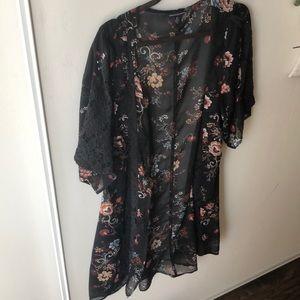 Black flowered kimono- American eagle